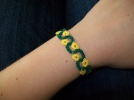 Wearing the yellow-flowers bracelet, to give you a sense of how narrow it is